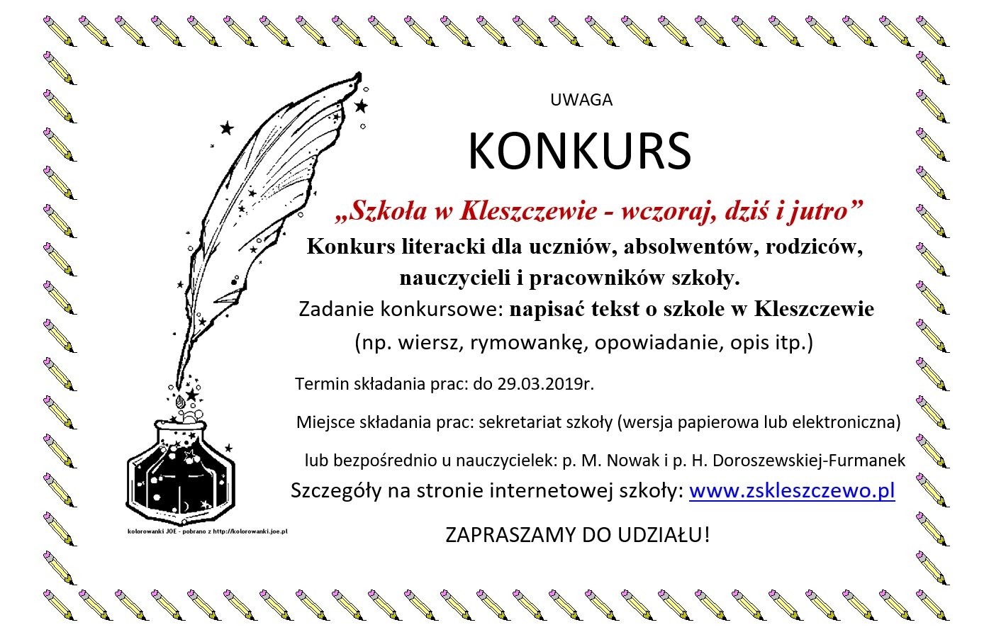 Zespół Szkół W Kleszczewie Uwaga Konkurs